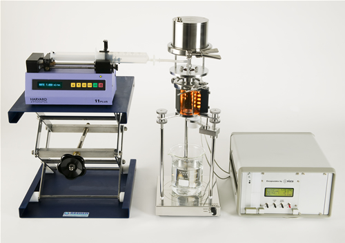 Classic, batch with syringe pump. Electromagnetic driven, single nozzle, opened unit.